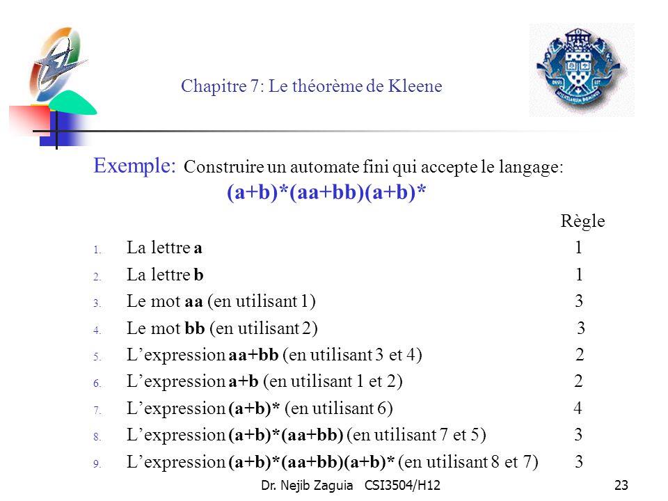 Dr. Nejib Zaguia CSI3504/H1223 Chapitre 7: Le théorème de Kleene Exemple: Construire un automate fini qui accepte le langage: (a+b)*(aa+bb)(a+b)* Règl