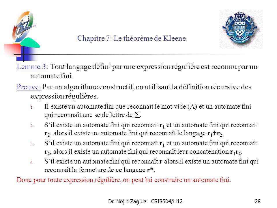 Dr. Nejib Zaguia CSI3504/H1228 Chapitre 7: Le théorème de Kleene Lemme 3: Tout langage défini par une expression régulière est reconnu par un automate
