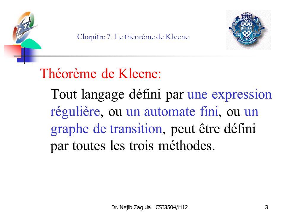 Dr. Nejib Zaguia CSI3504/H123 Chapitre 7: Le théorème de Kleene Théorème de Kleene: Tout langage défini par une expression régulière, ou un automate f