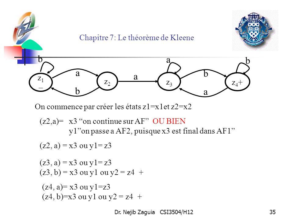 Dr. Nejib Zaguia CSI3504/H1235 Chapitre 7: Le théorème de Kleene On commence par créer les états z1=x1et z2=x2 (z2,a)=x3 on continue sur AF OU BIEN y1