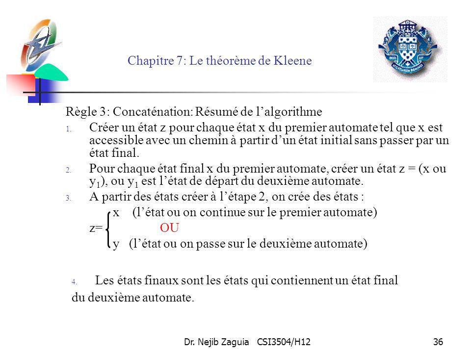 Dr. Nejib Zaguia CSI3504/H1236 Chapitre 7: Le théorème de Kleene Règle 3: Concaténation: Résumé de lalgorithme 1. Créer un état z pour chaque état x d