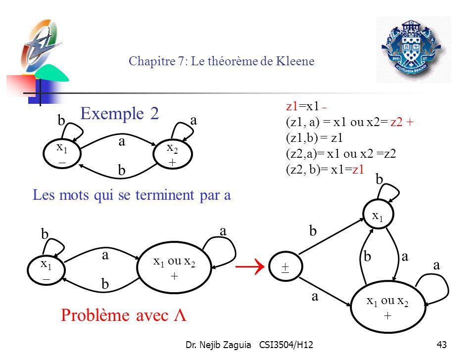 Dr. Nejib Zaguia CSI3504/H1243 Chapitre 7: Le théorème de Kleene Les mots qui se terminent par a x1–x1– x2+x2+ a b a b x1–x1– x 1 ou x 2 + a b a b + x