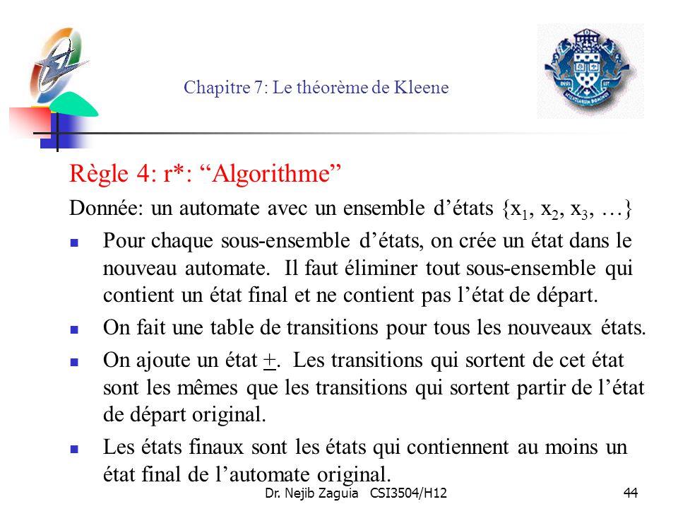 Dr. Nejib Zaguia CSI3504/H1244 Chapitre 7: Le théorème de Kleene Règle 4: r*: Algorithme Donnée: un automate avec un ensemble détats {x 1, x 2, x 3, …