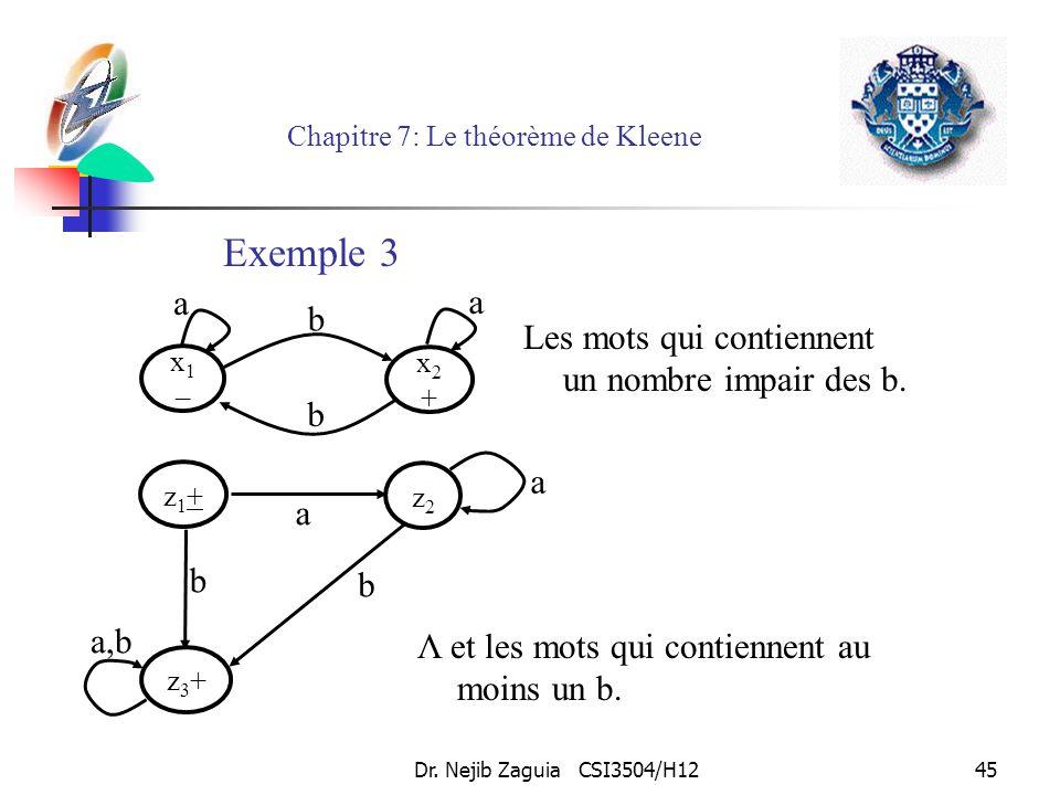 Dr. Nejib Zaguia CSI3504/H1245 Chapitre 7: Le théorème de Kleene Les mots qui contiennent un nombre impair des b. x1–x1– x2+x2+ b b a a Λ et les mots