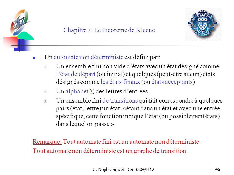 Dr. Nejib Zaguia CSI3504/H1246 Chapitre 7: Le théorème de Kleene Un automate non déterministe est défini par: 1. Un ensemble fini non vide détats avec