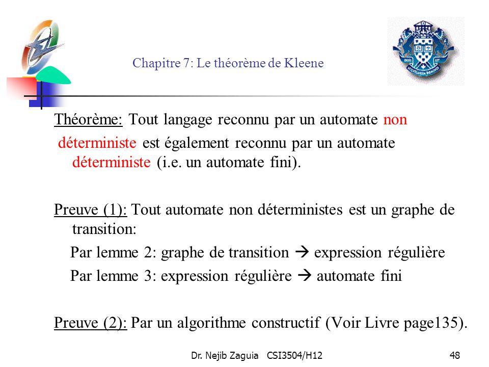 Dr. Nejib Zaguia CSI3504/H1248 Chapitre 7: Le théorème de Kleene Théorème: Tout langage reconnu par un automate non déterministe est également reconnu