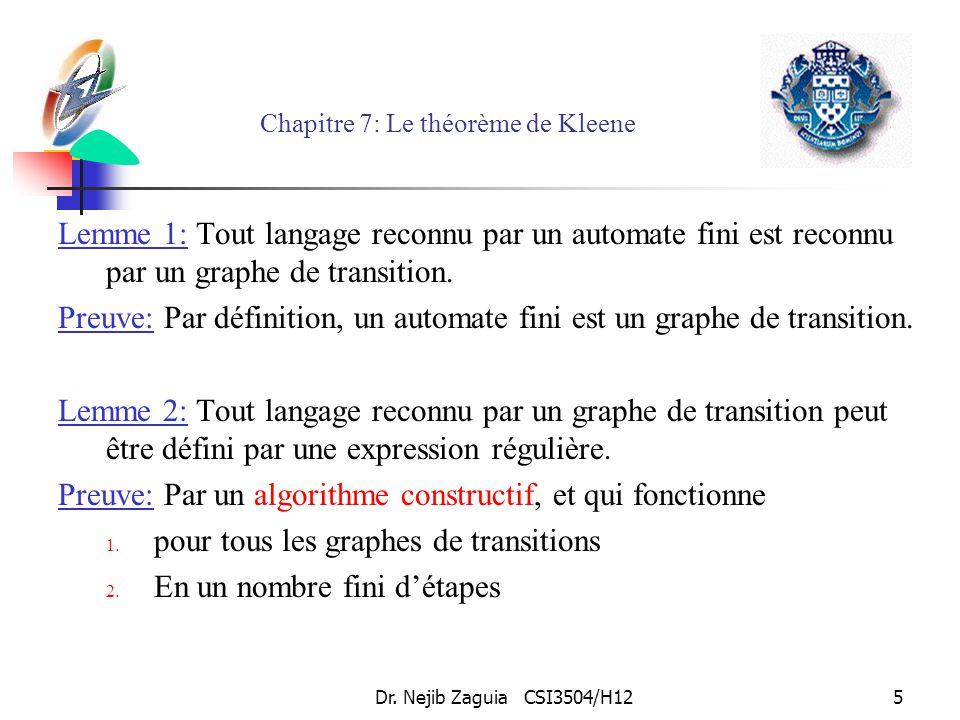 Dr. Nejib Zaguia CSI3504/H125 Chapitre 7: Le théorème de Kleene Lemme 1: Tout langage reconnu par un automate fini est reconnu par un graphe de transi