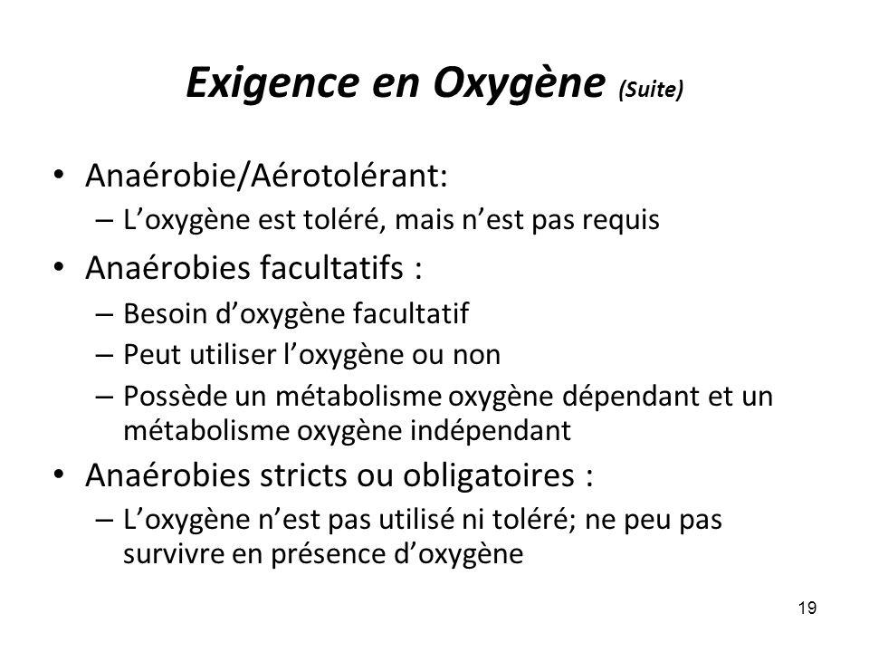 Exigence en Oxygène (Suite) Anaérobie/Aérotolérant: – Loxygène est toléré, mais nest pas requis Anaérobies facultatifs : – Besoin doxygène facultatif