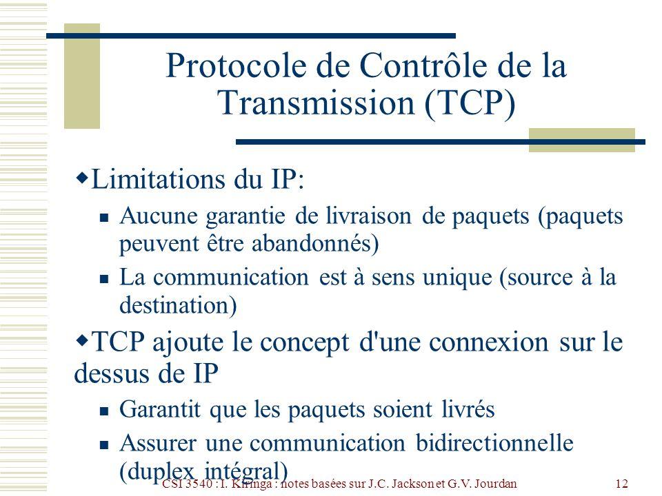 CSI 3540 : I. Kiringa : notes basées sur J.C. Jackson et G.V. Jourdan12 Protocole de Contrôle de la Transmission (TCP) Limitations du IP: Aucune garan