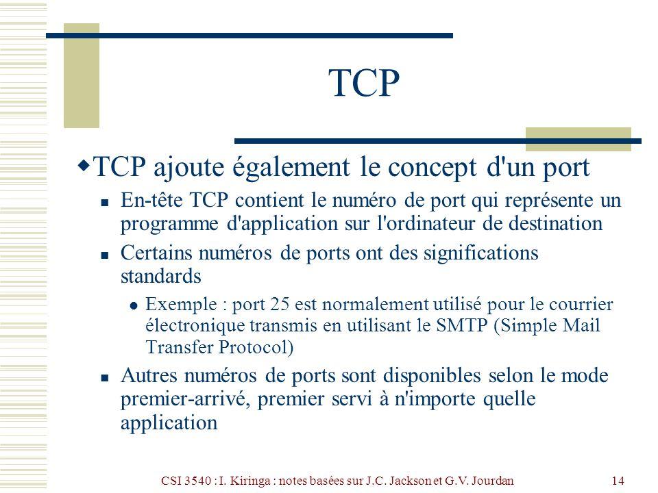 CSI 3540 : I. Kiringa : notes basées sur J.C. Jackson et G.V. Jourdan14 TCP TCP ajoute également le concept d'un port En-tête TCP contient le numéro d