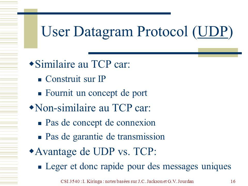CSI 3540 : I. Kiringa : notes basées sur J.C. Jackson et G.V. Jourdan16 User Datagram Protocol (UDP)UDP Similaire au TCP car: Construit sur IP Fournit