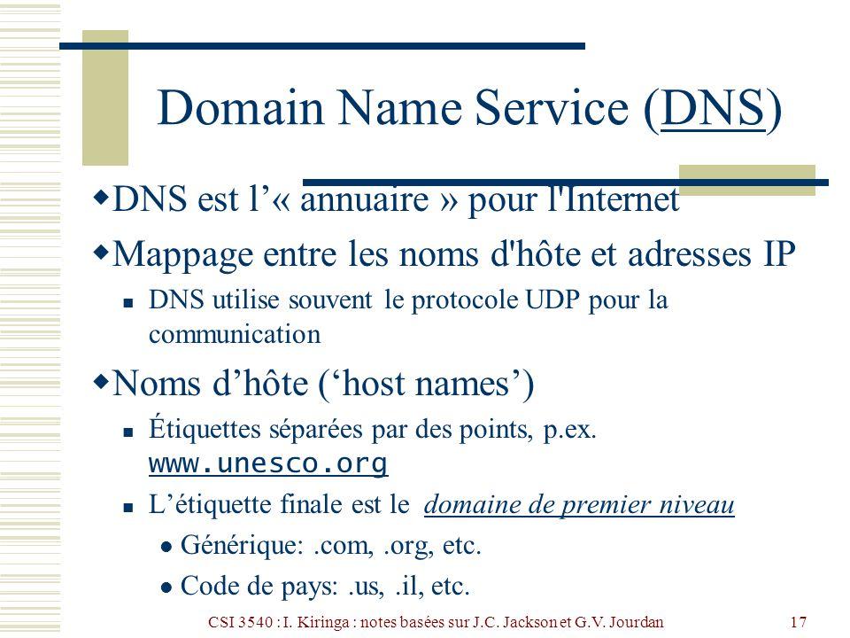 CSI 3540 : I. Kiringa : notes basées sur J.C. Jackson et G.V. Jourdan17 Domain Name Service (DNS)DNS DNS est l« annuaire » pour l'Internet Mappage ent