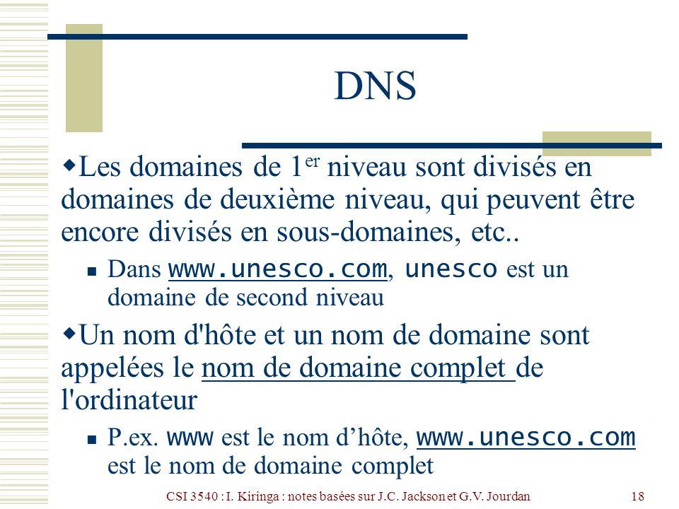 CSI 3540 : I. Kiringa : notes basées sur J.C. Jackson et G.V. Jourdan18 DNS Les domaines de 1 er niveau sont divisés en domaines de deuxième niveau, q