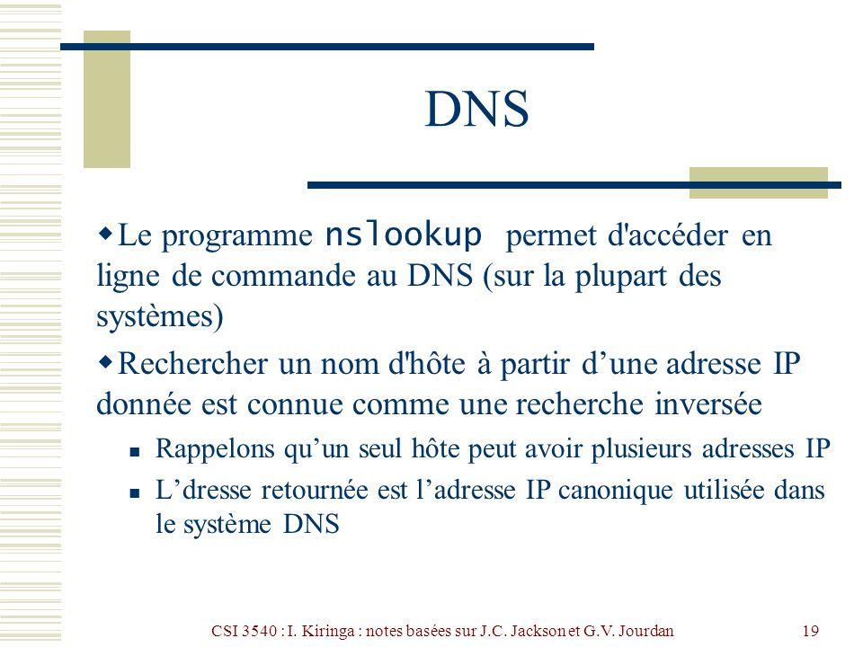 CSI 3540 : I. Kiringa : notes basées sur J.C. Jackson et G.V. Jourdan19 DNS Le programme nslookup permet d'accéder en ligne de commande au DNS (sur la