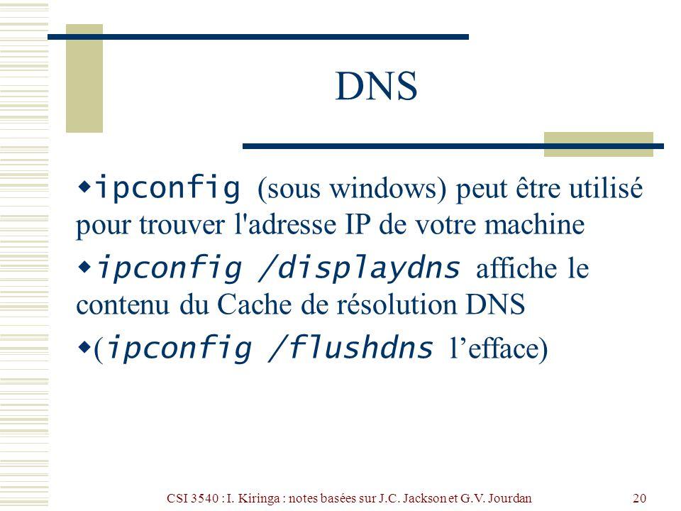 CSI 3540 : I. Kiringa : notes basées sur J.C. Jackson et G.V. Jourdan20 DNS ipconfig (sous windows) peut être utilisé pour trouver l'adresse IP de vot