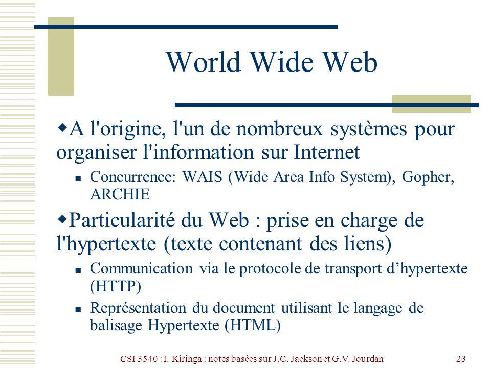 CSI 3540 : I. Kiringa : notes basées sur J.C. Jackson et G.V. Jourdan23 World Wide Web A l'origine, l'un de nombreux systèmes pour organiser l'informa