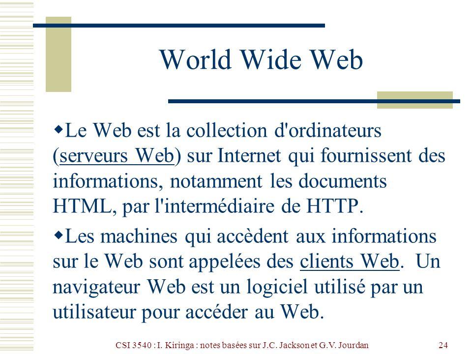 CSI 3540 : I. Kiringa : notes basées sur J.C. Jackson et G.V. Jourdan24 World Wide Web Le Web est la collection d'ordinateurs (serveurs Web) sur Inter