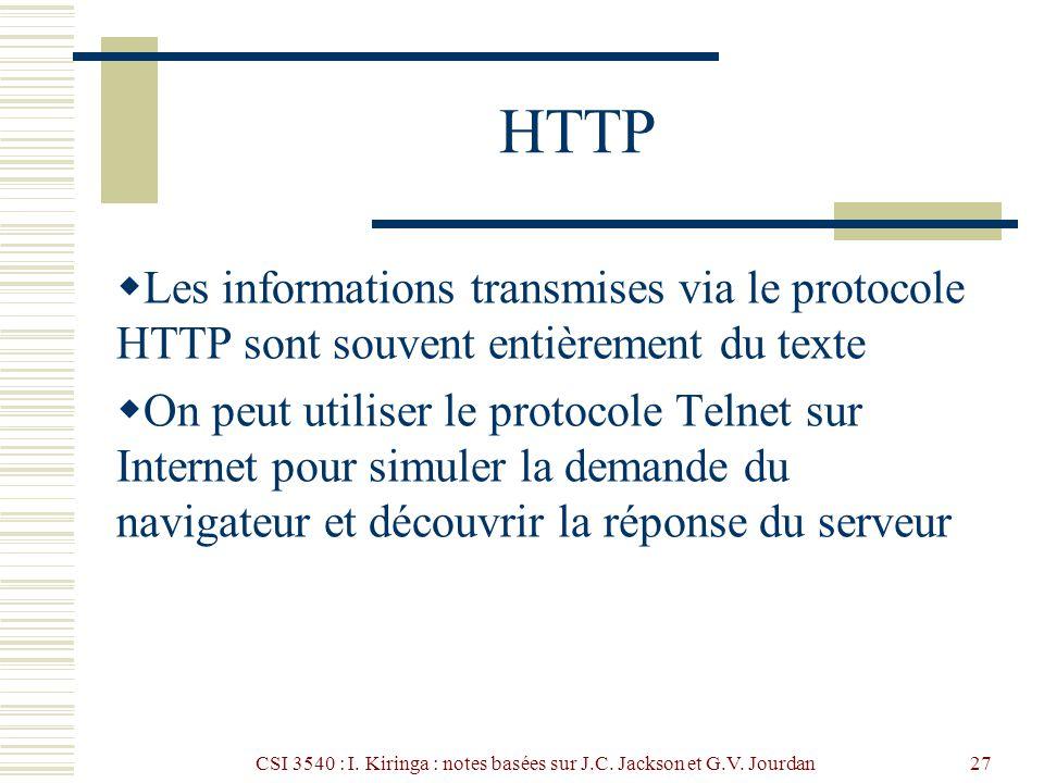 CSI 3540 : I. Kiringa : notes basées sur J.C. Jackson et G.V. Jourdan27 HTTP Les informations transmises via le protocole HTTP sont souvent entièremen