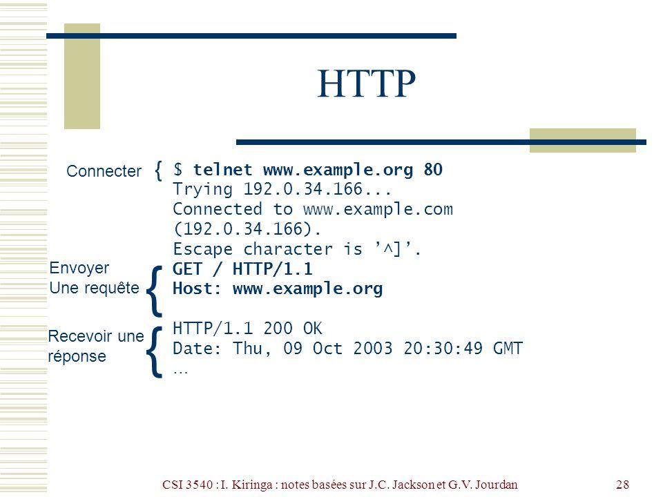 CSI 3540 : I. Kiringa : notes basées sur J.C. Jackson et G.V. Jourdan28 HTTP $ telnet www.example.org 80 Trying 192.0.34.166... Connected to www.examp