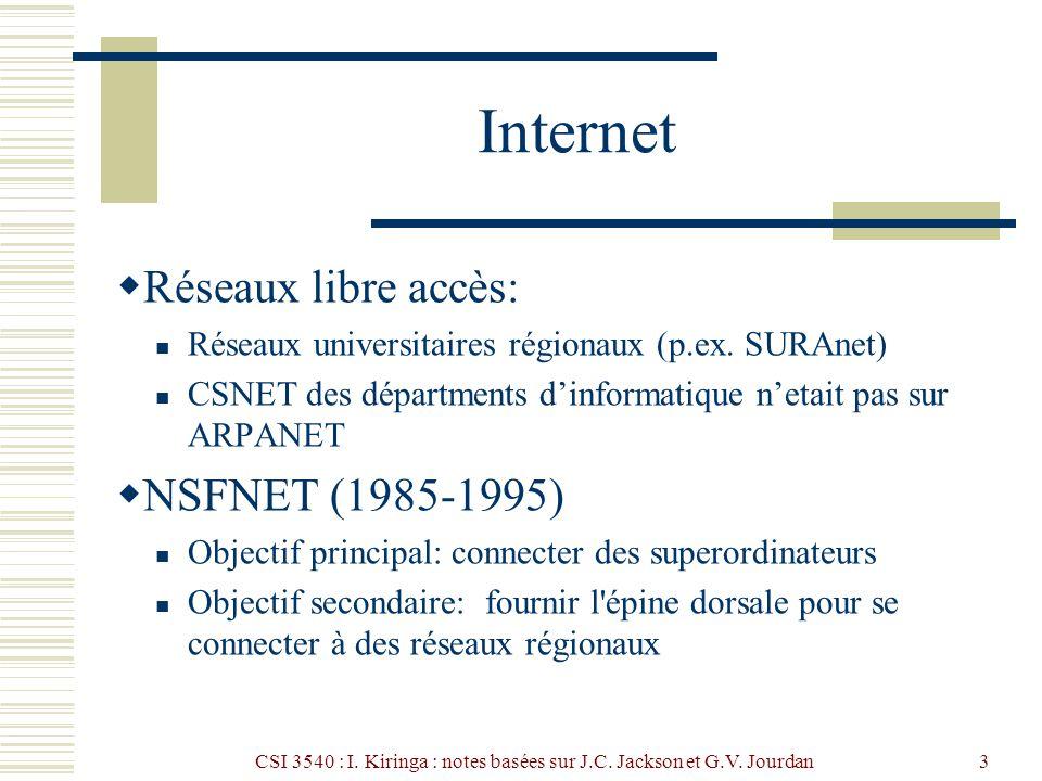 CSI 3540 : I. Kiringa : notes basées sur J.C. Jackson et G.V. Jourdan3 Internet Réseaux libre accès: Réseaux universitaires régionaux (p.ex. SURAnet)