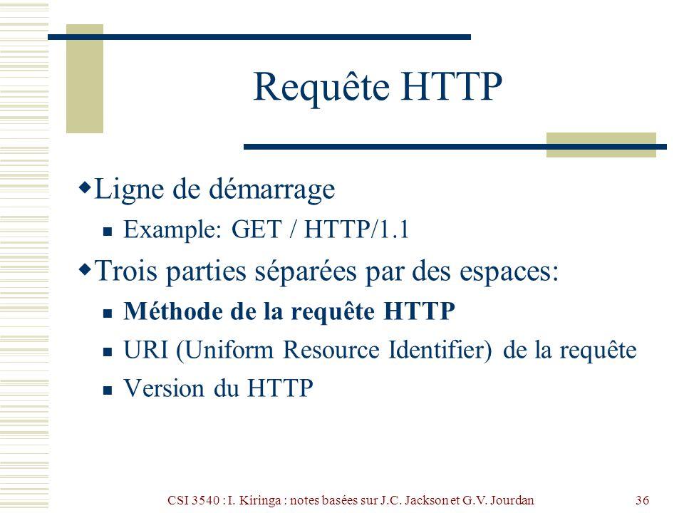 CSI 3540 : I. Kiringa : notes basées sur J.C. Jackson et G.V. Jourdan36 Requête HTTP Ligne de démarrage Example: GET / HTTP/1.1 Trois parties séparées