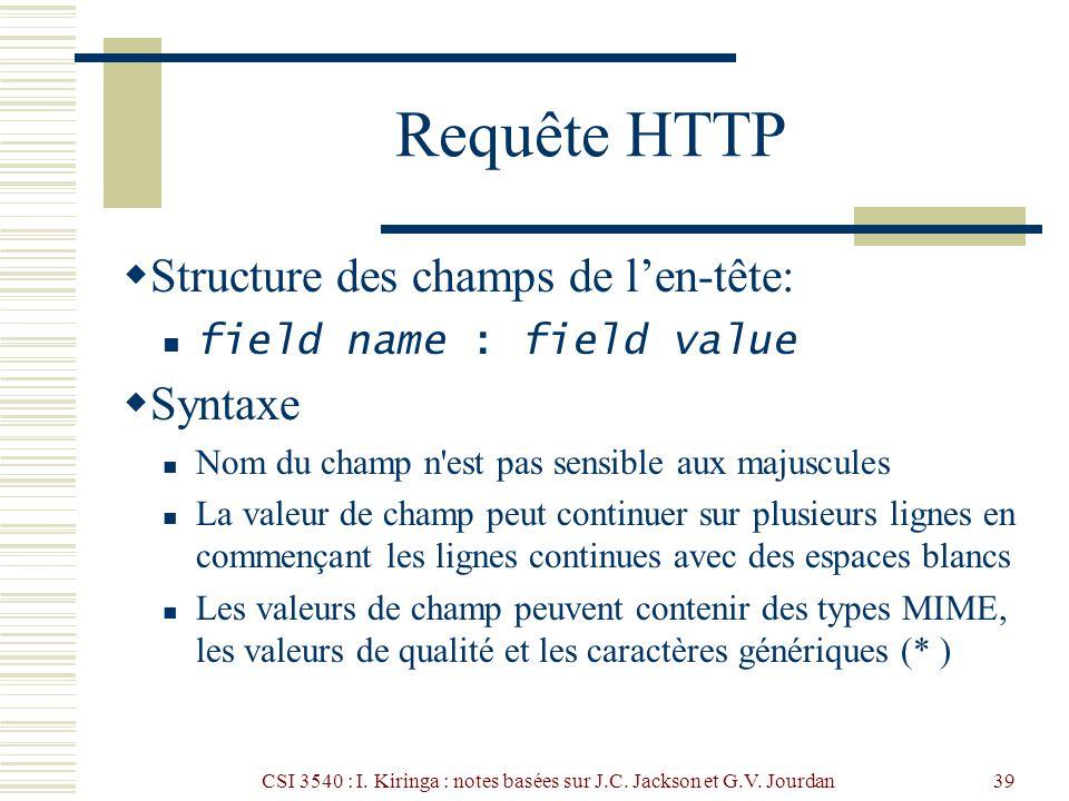 CSI 3540 : I. Kiringa : notes basées sur J.C. Jackson et G.V. Jourdan39 Requête HTTP Structure des champs de len-tête: field name : field value Syntax