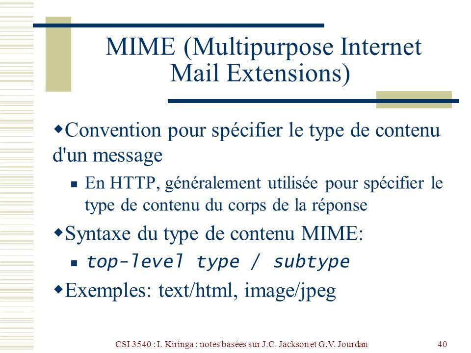 CSI 3540 : I. Kiringa : notes basées sur J.C. Jackson et G.V. Jourdan40 MIME (Multipurpose Internet Mail Extensions) Convention pour spécifier le type