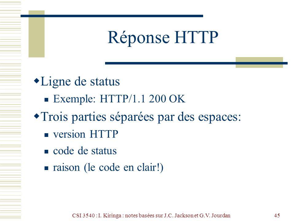 CSI 3540 : I. Kiringa : notes basées sur J.C. Jackson et G.V. Jourdan45 Réponse HTTP Ligne de status Exemple: HTTP/1.1 200 OK Trois parties séparées p