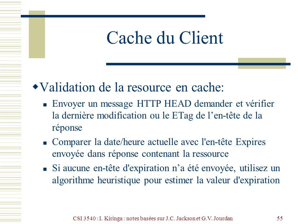 CSI 3540 : I. Kiringa : notes basées sur J.C. Jackson et G.V. Jourdan55 Cache du Client Validation de la resource en cache: Envoyer un message HTTP HE