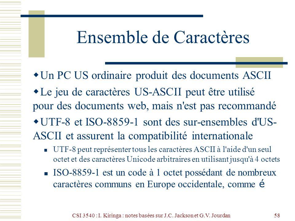 CSI 3540 : I. Kiringa : notes basées sur J.C. Jackson et G.V. Jourdan58 Ensemble de Caractères Un PC US ordinaire produit des documents ASCII Le jeu d