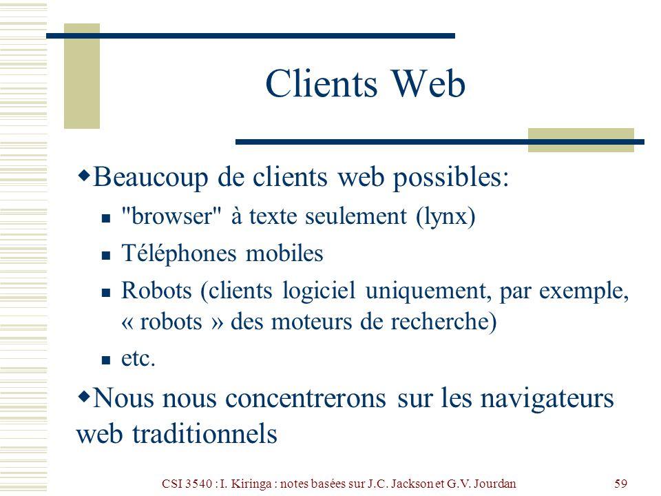 CSI 3540 : I. Kiringa : notes basées sur J.C. Jackson et G.V. Jourdan59 Clients Web Beaucoup de clients web possibles: