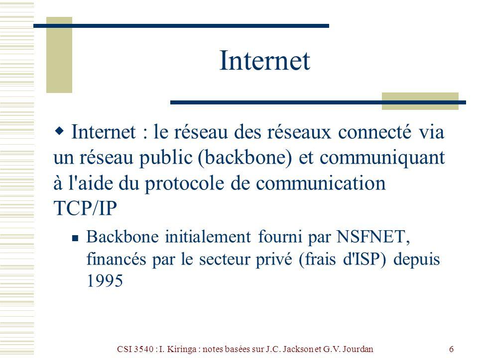 CSI 3540 : I. Kiringa : notes basées sur J.C. Jackson et G.V. Jourdan6 Internet Internet : le réseau des réseaux connecté via un réseau public (backbo