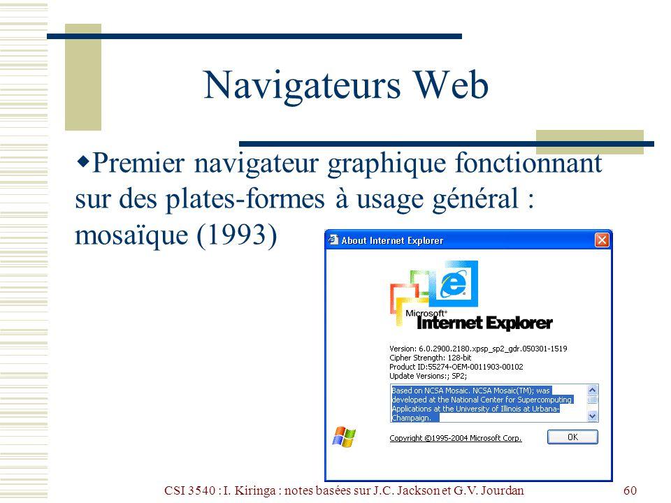 CSI 3540 : I. Kiringa : notes basées sur J.C. Jackson et G.V. Jourdan60 Navigateurs Web Premier navigateur graphique fonctionnant sur des plates-forme