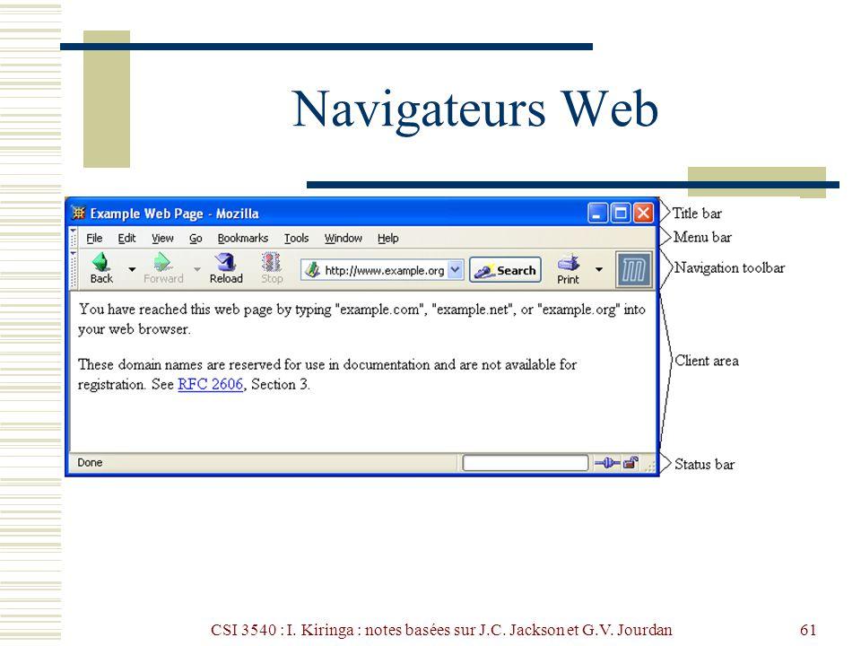 CSI 3540 : I. Kiringa : notes basées sur J.C. Jackson et G.V. Jourdan61 Navigateurs Web