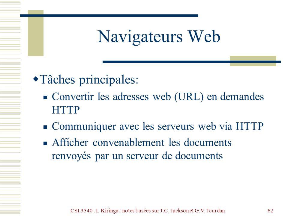 CSI 3540 : I. Kiringa : notes basées sur J.C. Jackson et G.V. Jourdan62 Navigateurs Web Tâches principales: Convertir les adresses web (URL) en demand