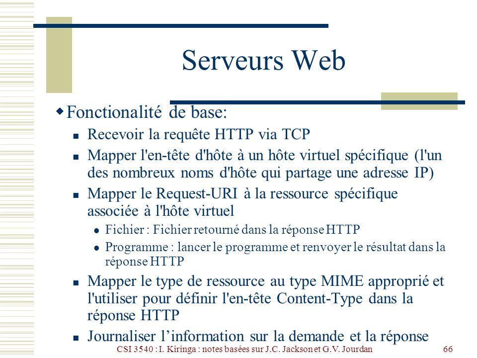 CSI 3540 : I. Kiringa : notes basées sur J.C. Jackson et G.V. Jourdan66 Serveurs Web Fonctionalité de base: Recevoir la requête HTTP via TCP Mapper l'