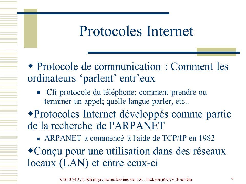 CSI 3540 : I. Kiringa : notes basées sur J.C. Jackson et G.V. Jourdan7 Protocoles Internet Protocole de communication : Comment les ordinateurs parlen