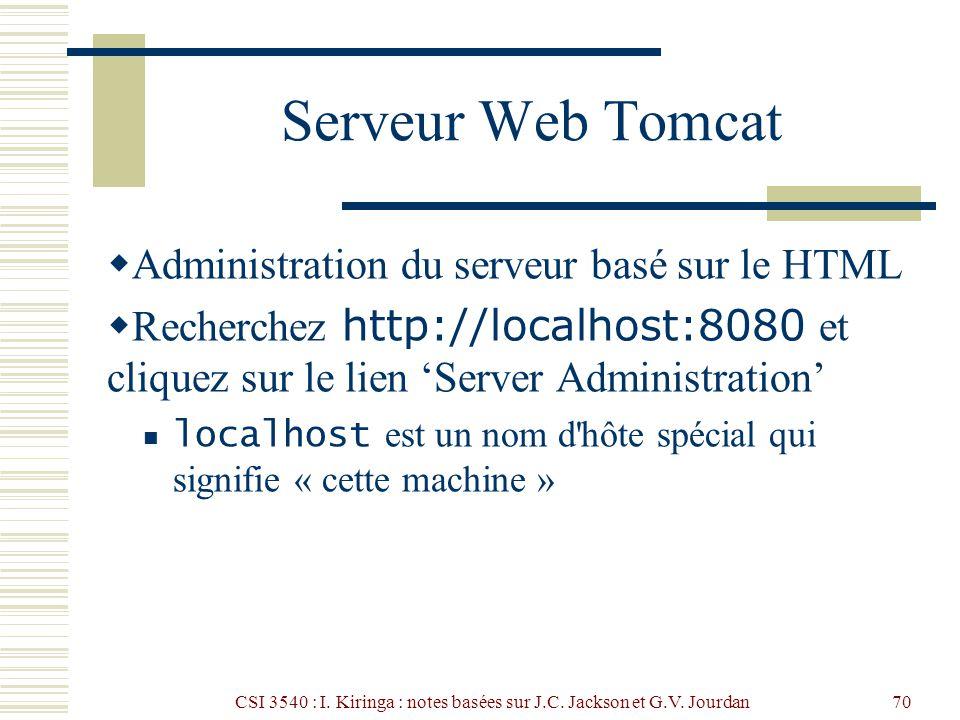 CSI 3540 : I. Kiringa : notes basées sur J.C. Jackson et G.V. Jourdan70 Serveur Web Tomcat Administration du serveur basé sur le HTML Recherchez http:
