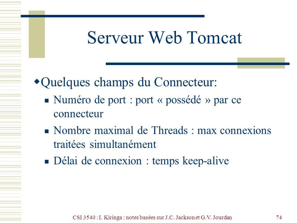 CSI 3540 : I. Kiringa : notes basées sur J.C. Jackson et G.V. Jourdan74 Serveur Web Tomcat Quelques champs du Connecteur: Numéro de port : port « poss