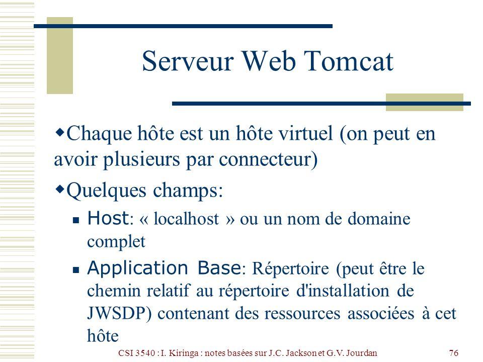 CSI 3540 : I. Kiringa : notes basées sur J.C. Jackson et G.V. Jourdan76 Serveur Web Tomcat Chaque hôte est un hôte virtuel (on peut en avoir plusieurs