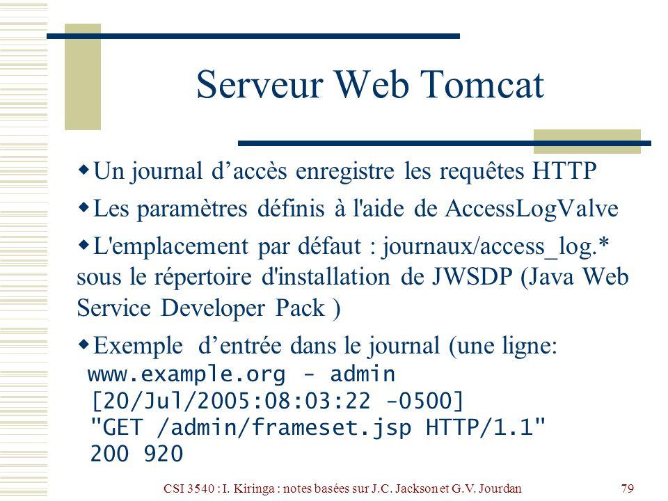 CSI 3540 : I. Kiringa : notes basées sur J.C. Jackson et G.V. Jourdan79 Serveur Web Tomcat Un journal daccès enregistre les requêtes HTTP Les paramètr