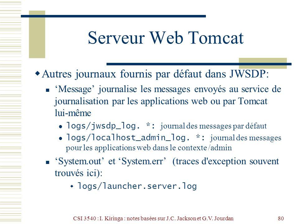 CSI 3540 : I. Kiringa : notes basées sur J.C. Jackson et G.V. Jourdan80 Serveur Web Tomcat Autres journaux fournis par défaut dans JWSDP: Message jour