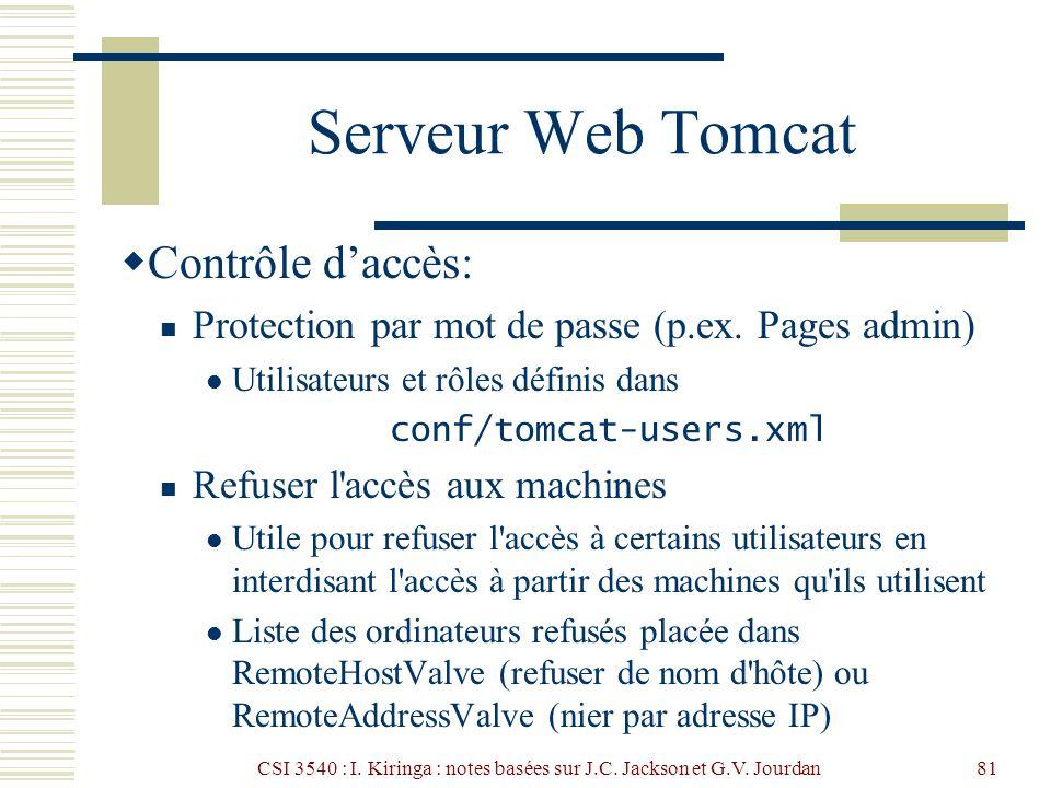 CSI 3540 : I. Kiringa : notes basées sur J.C. Jackson et G.V. Jourdan81 Serveur Web Tomcat Contrôle daccès: Protection par mot de passe (p.ex. Pages a