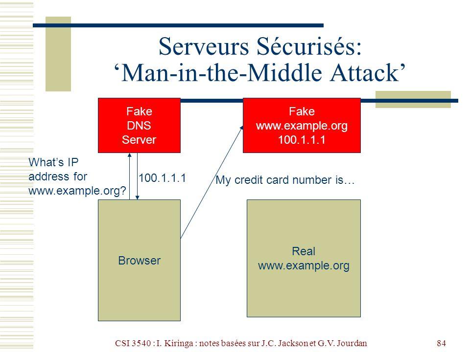 CSI 3540 : I. Kiringa : notes basées sur J.C. Jackson et G.V. Jourdan84 Serveurs Sécurisés: Man-in-the-Middle Attack Browser Fake DNS Server Whats IP