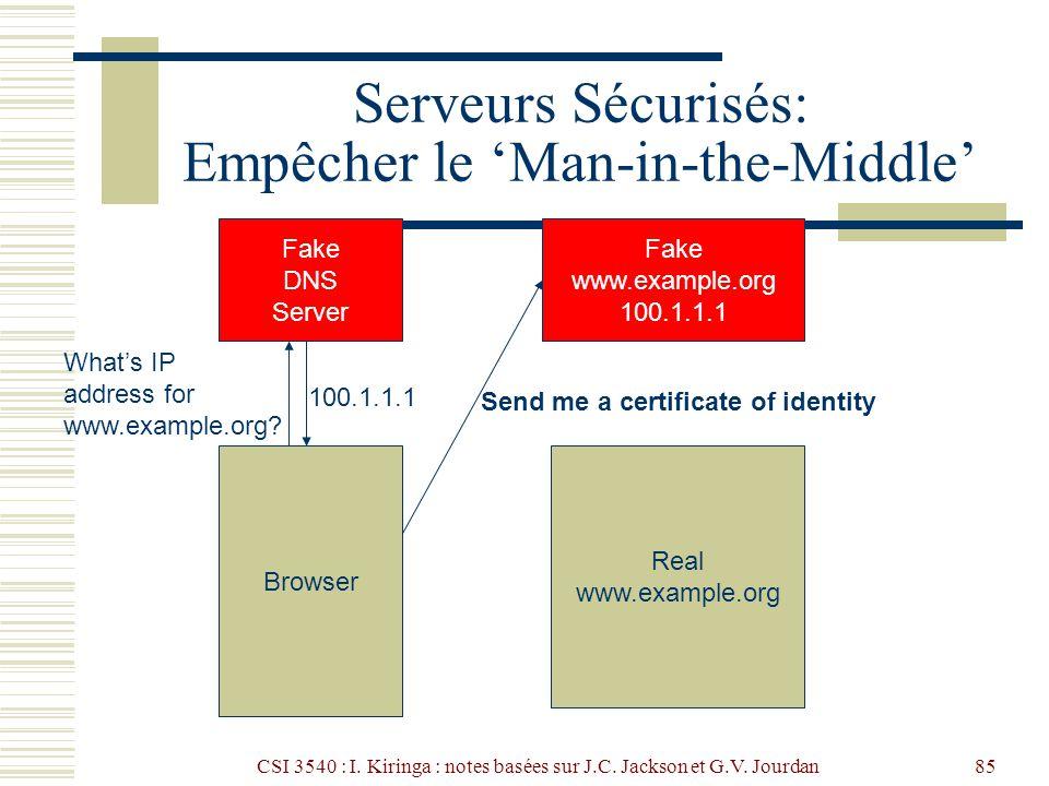 CSI 3540 : I. Kiringa : notes basées sur J.C. Jackson et G.V. Jourdan85 Serveurs Sécurisés: Empêcher le Man-in-the-Middle Browser Fake DNS Server What
