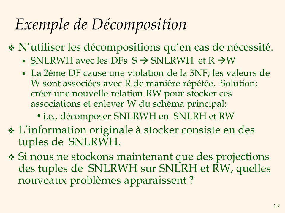 13 Exemple de Décomposition Nutiliser les décompositions quen cas de nécessité.