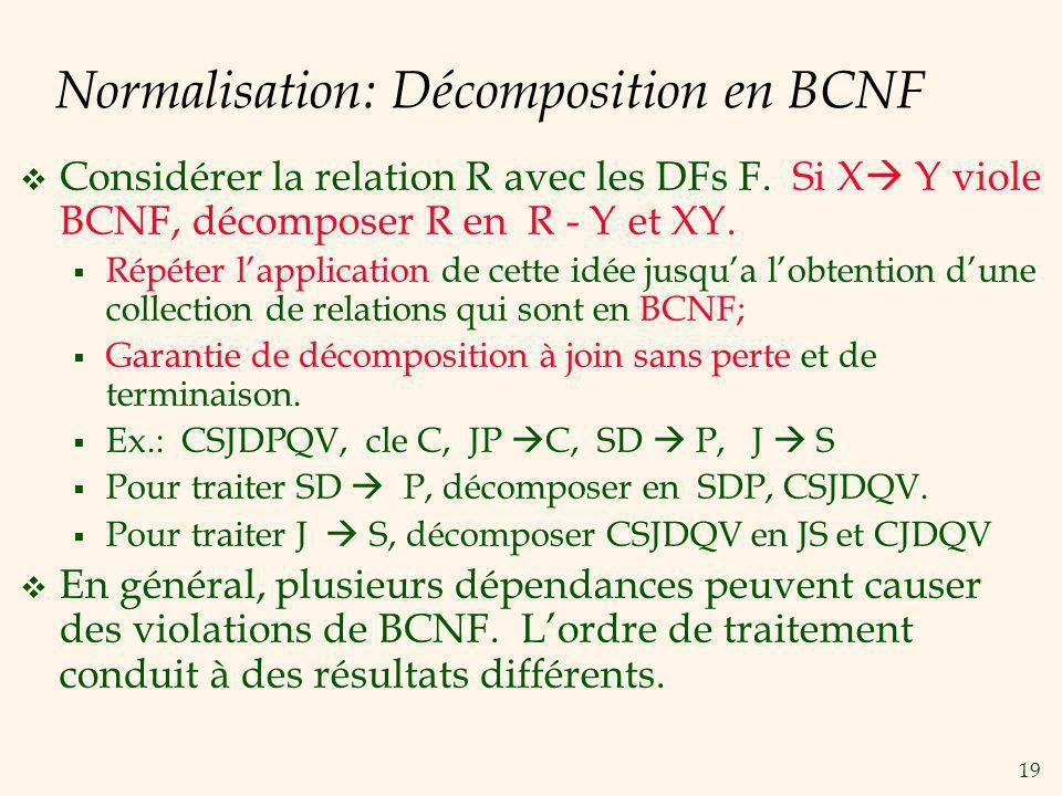 19 Normalisation: Décomposition en BCNF Considérer la relation R avec les DFs F.