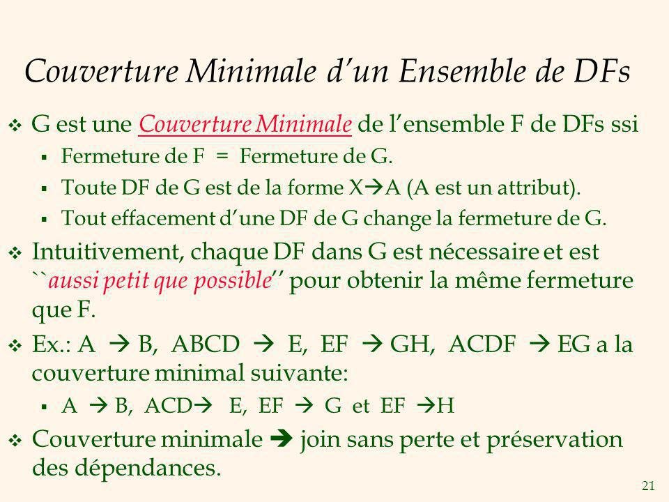 21 Couverture Minimale dun Ensemble de DFs G est une Couverture Minimale de lensemble F de DFs ssi Fermeture de F = Fermeture de G.