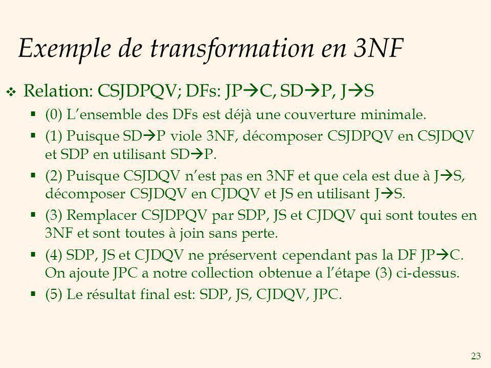 23 Exemple de transformation en 3NF Relation: CSJDPQV; DFs: JP C, SD P, J S (0) Lensemble des DFs est déjà une couverture minimale.