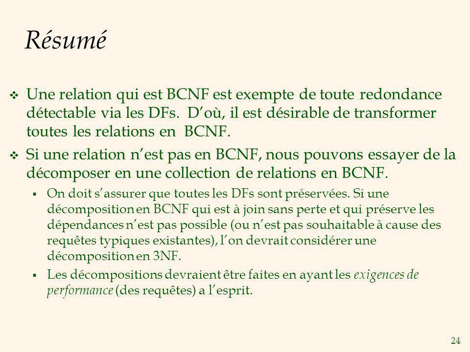 24 Résumé Une relation qui est BCNF est exempte de toute redondance détectable via les DFs.